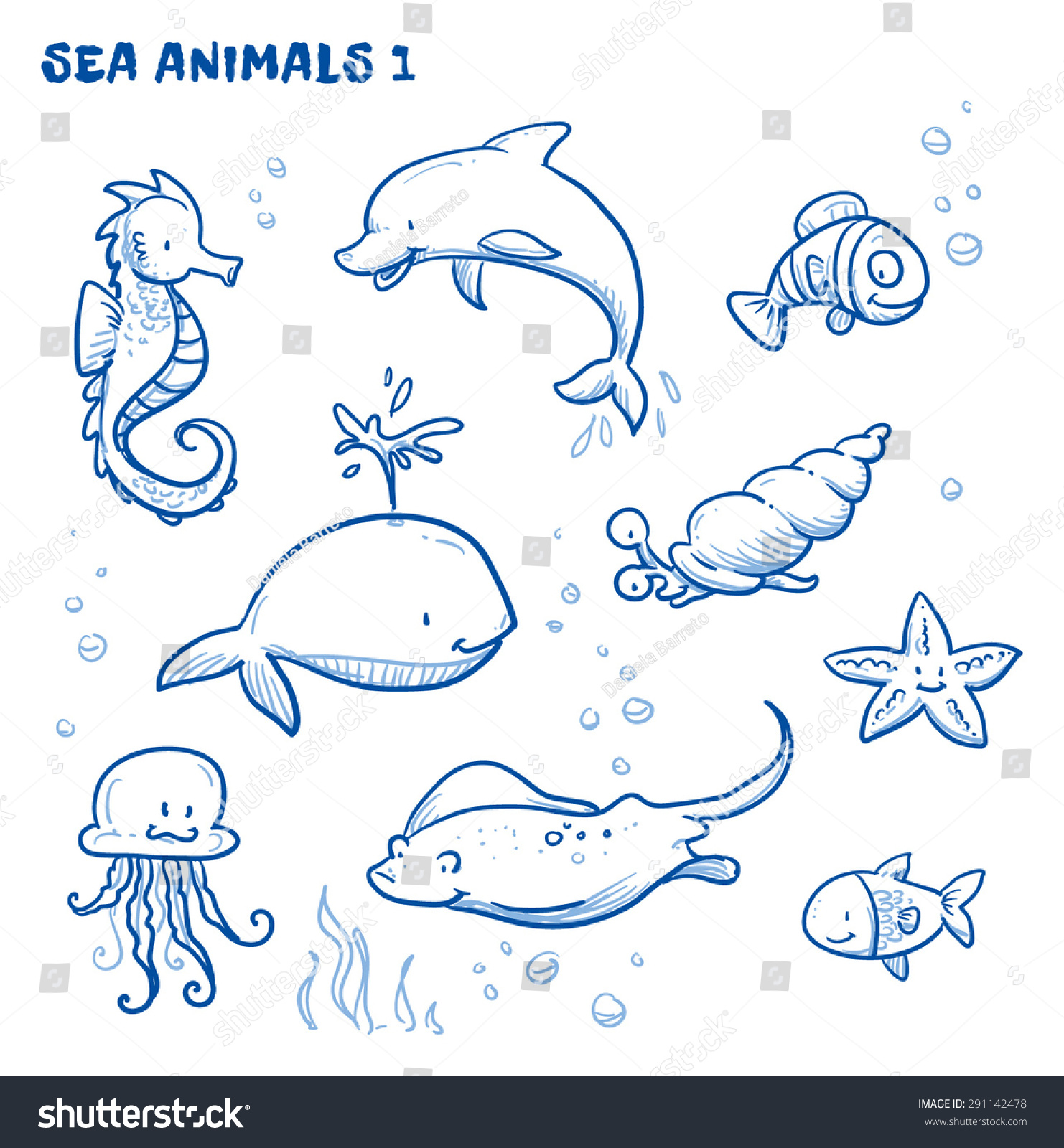 Line Drawing Of Water Animals : Cute cartoon sea water animals whale fish dolphin