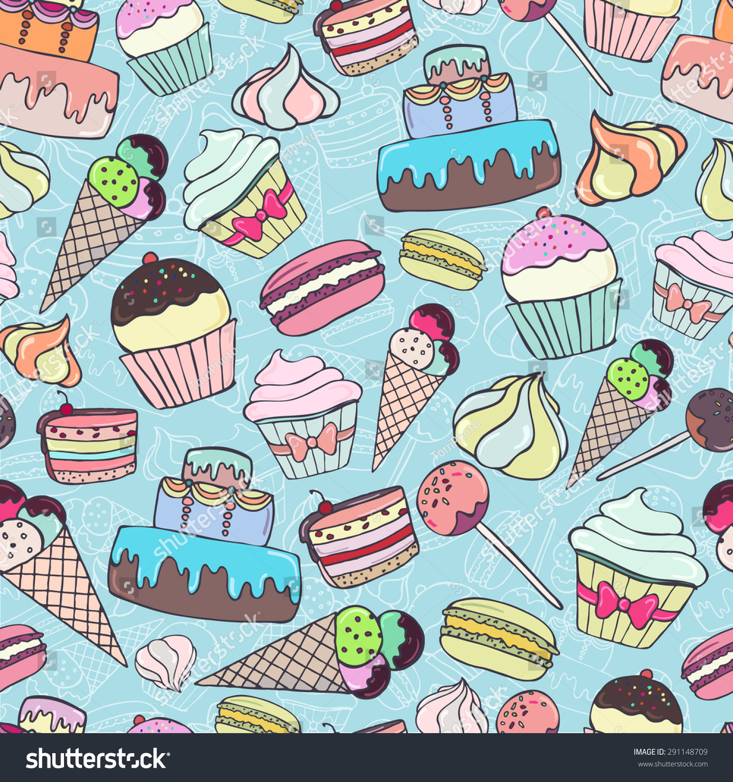Ice Cream Background Sparking Shiny Decoration Free Vector: Seamless Pattern Colorful Sweets Pastry On Stock Vector