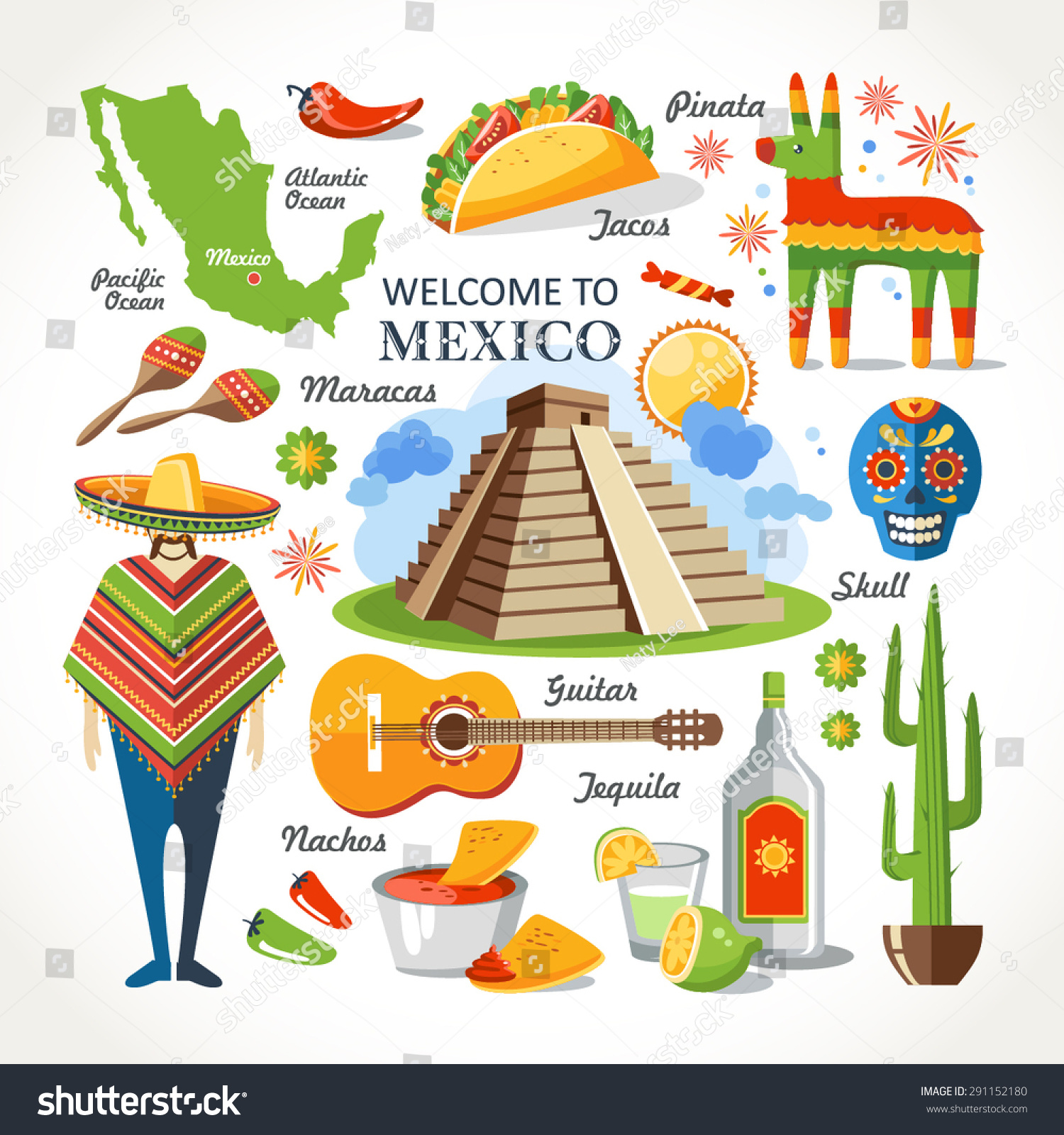 welcome to mexico set stock vector illustration 291152180