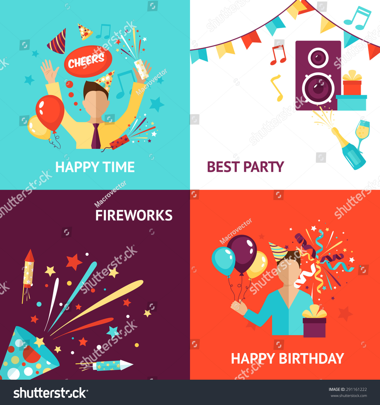 Party Design Concept Set Birthday Fireworks Stock Vector 291161222 ...