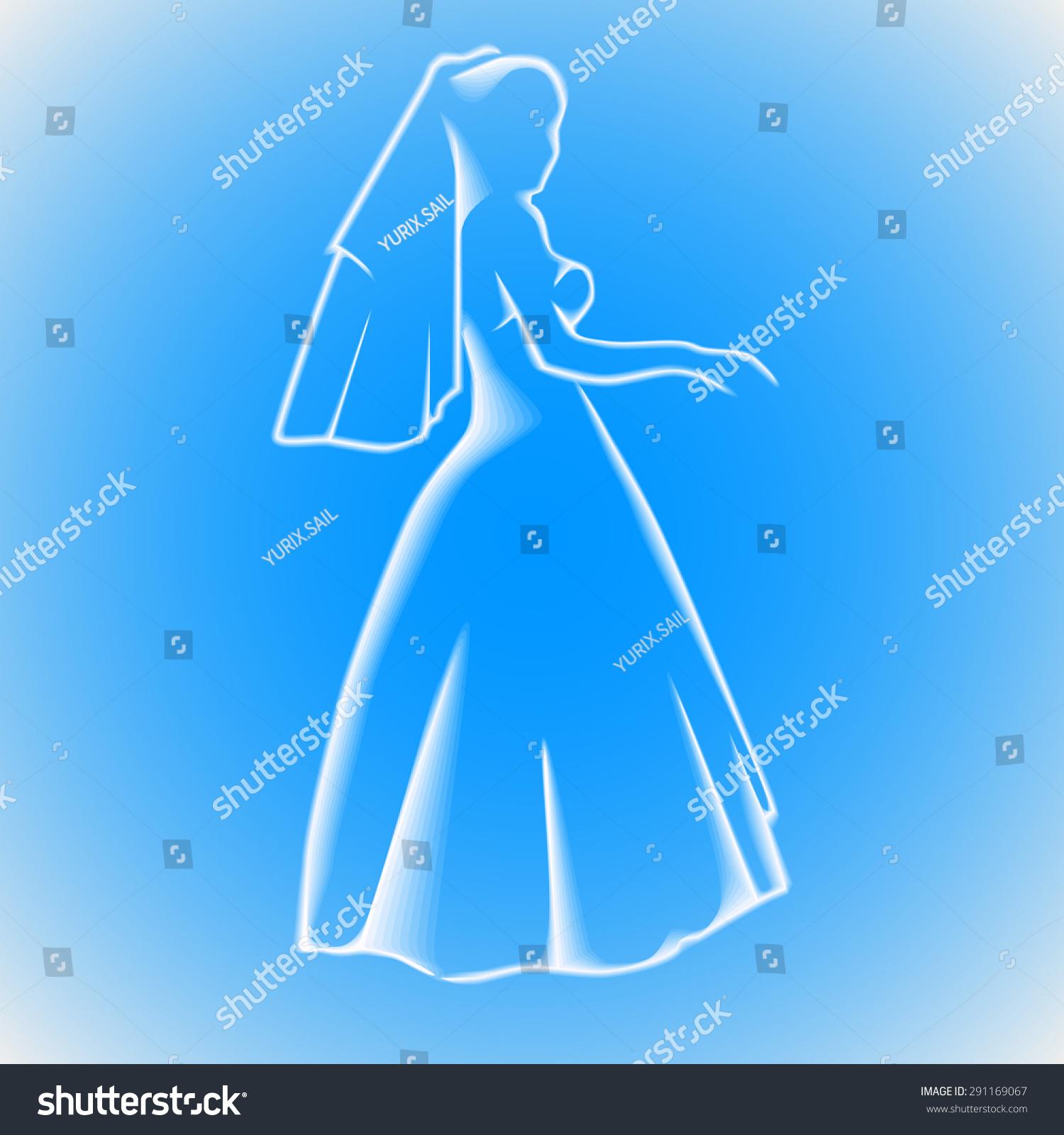 Sketch Silhouette Bride Her Wedding Dress Stock Photo (Photo, Vector ...