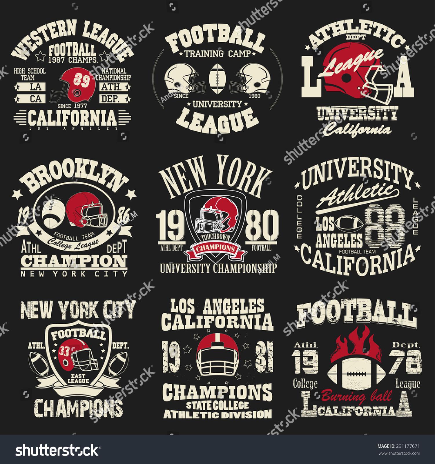 Football Logo Set Athletic Tshirt Fashion | BeautyFashion