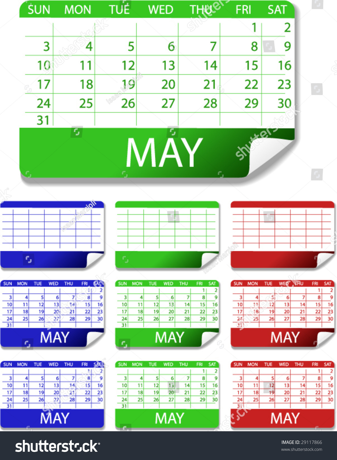 2009 Calendar Stickers These Vector Illustrations Stock Vector