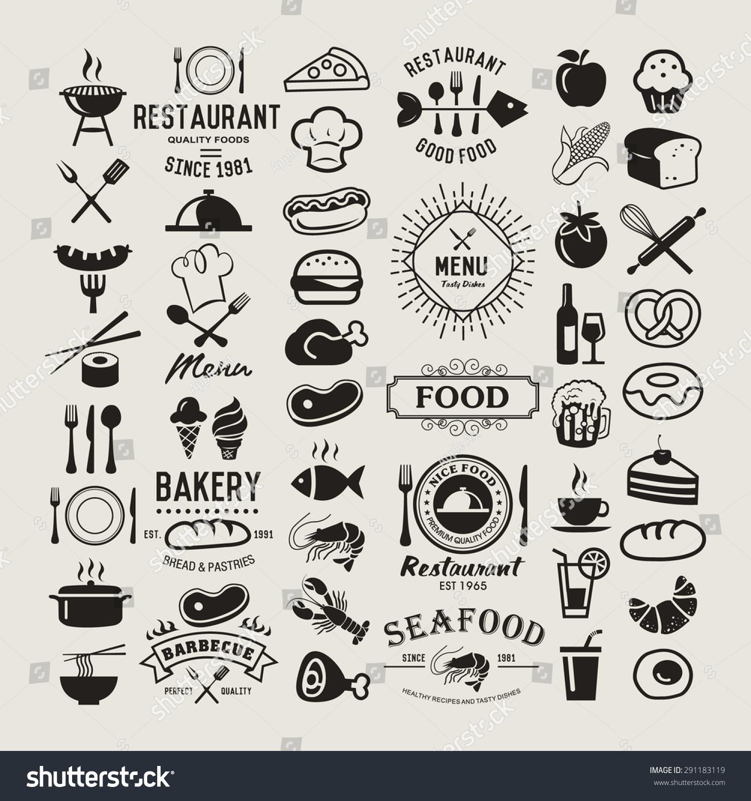 Food logotypes set restaurant vintage design elements