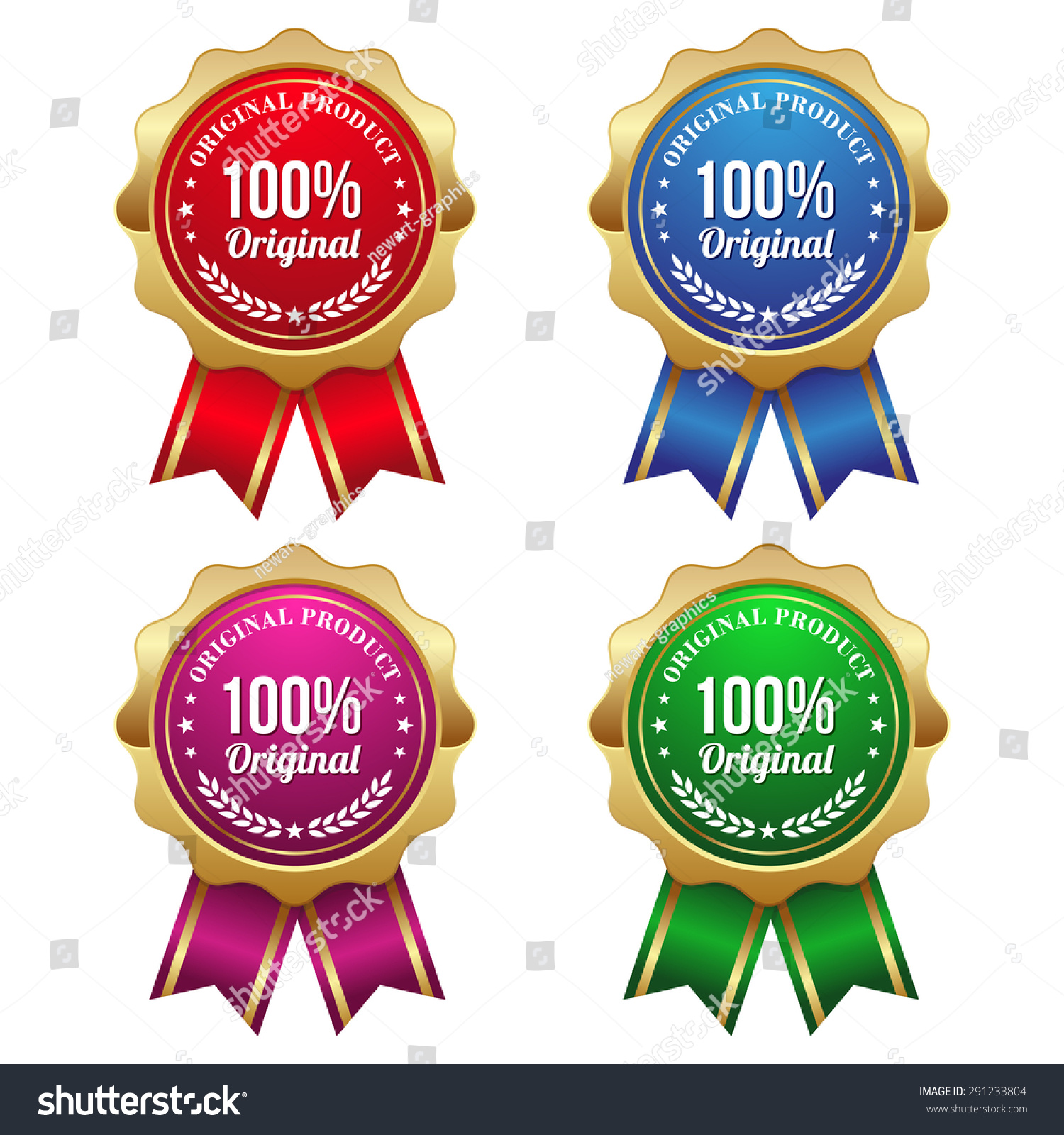 Gold 100 percent original badges with ribbon on white background