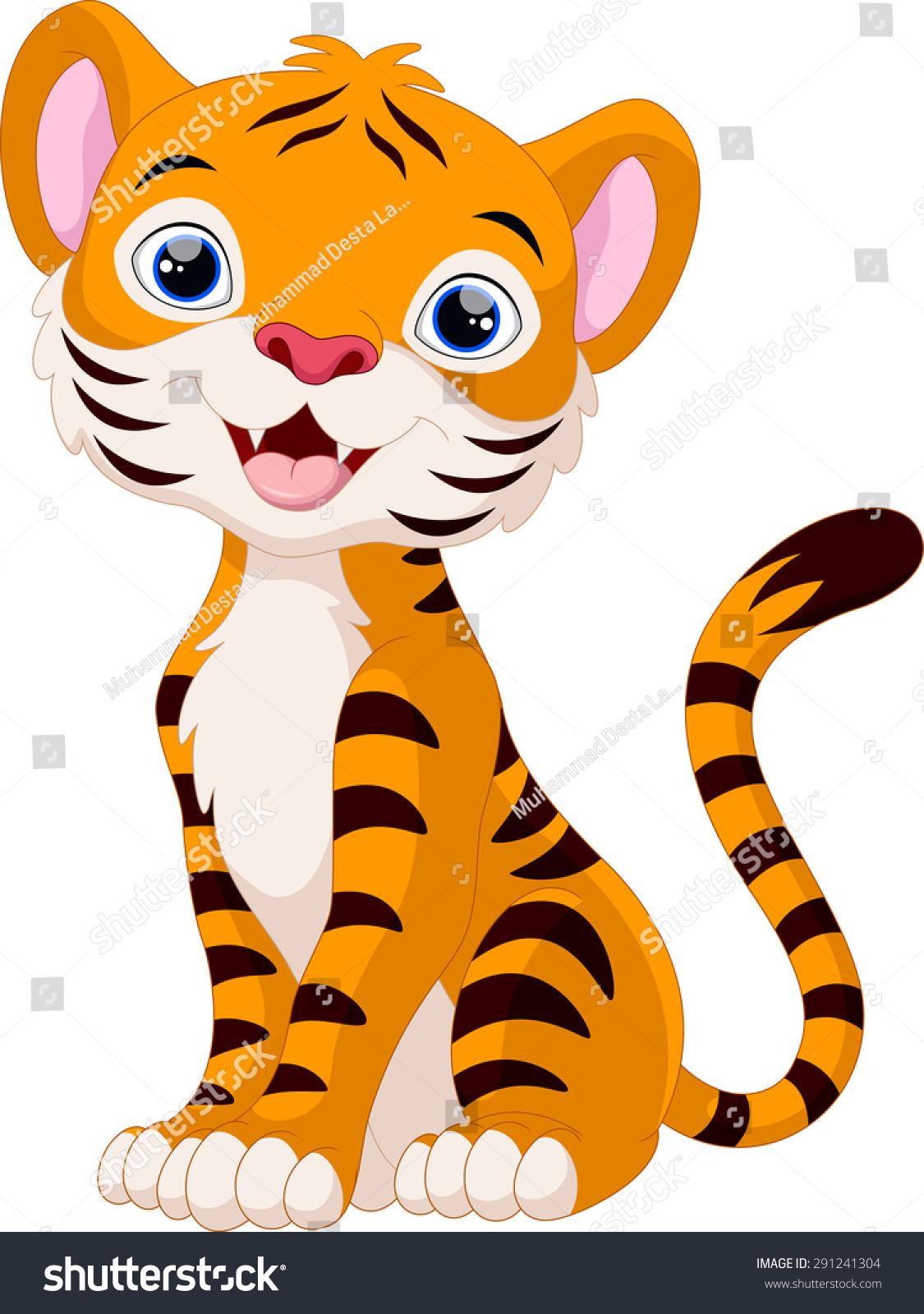 Cute Tiger Cartoon Sitting Stock Illustration 291241304 ...