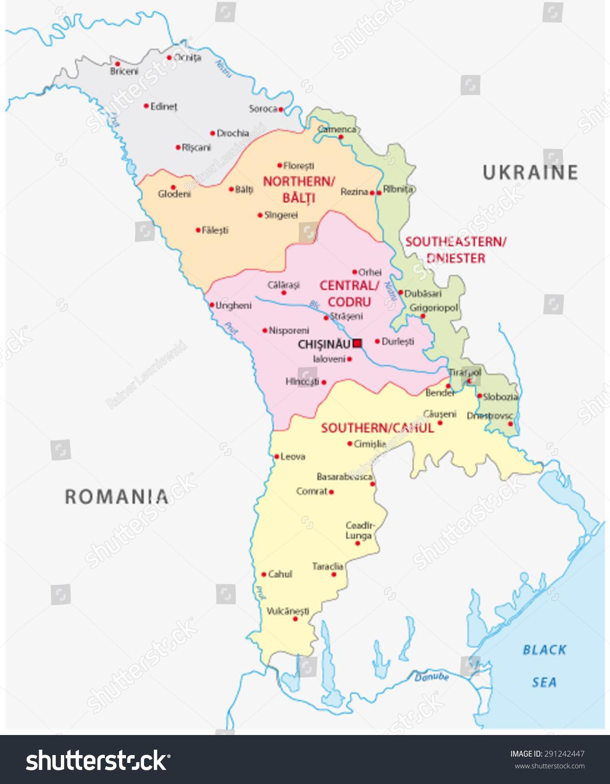 Moldova Wine Regions Map Stock Vector 291242447 Shutterstock