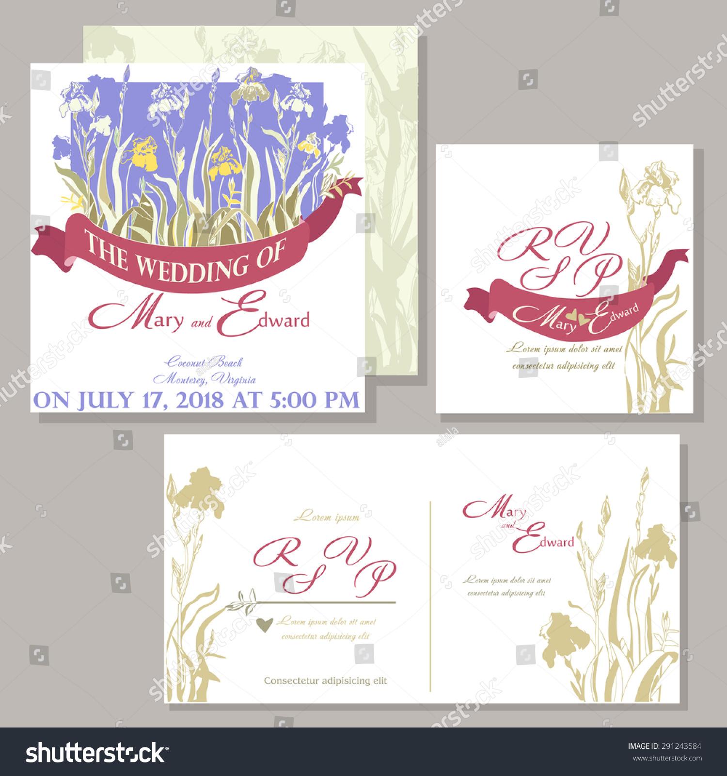 Wedding Invitation Iris Flowers Caught Magenta Stock Vector ...