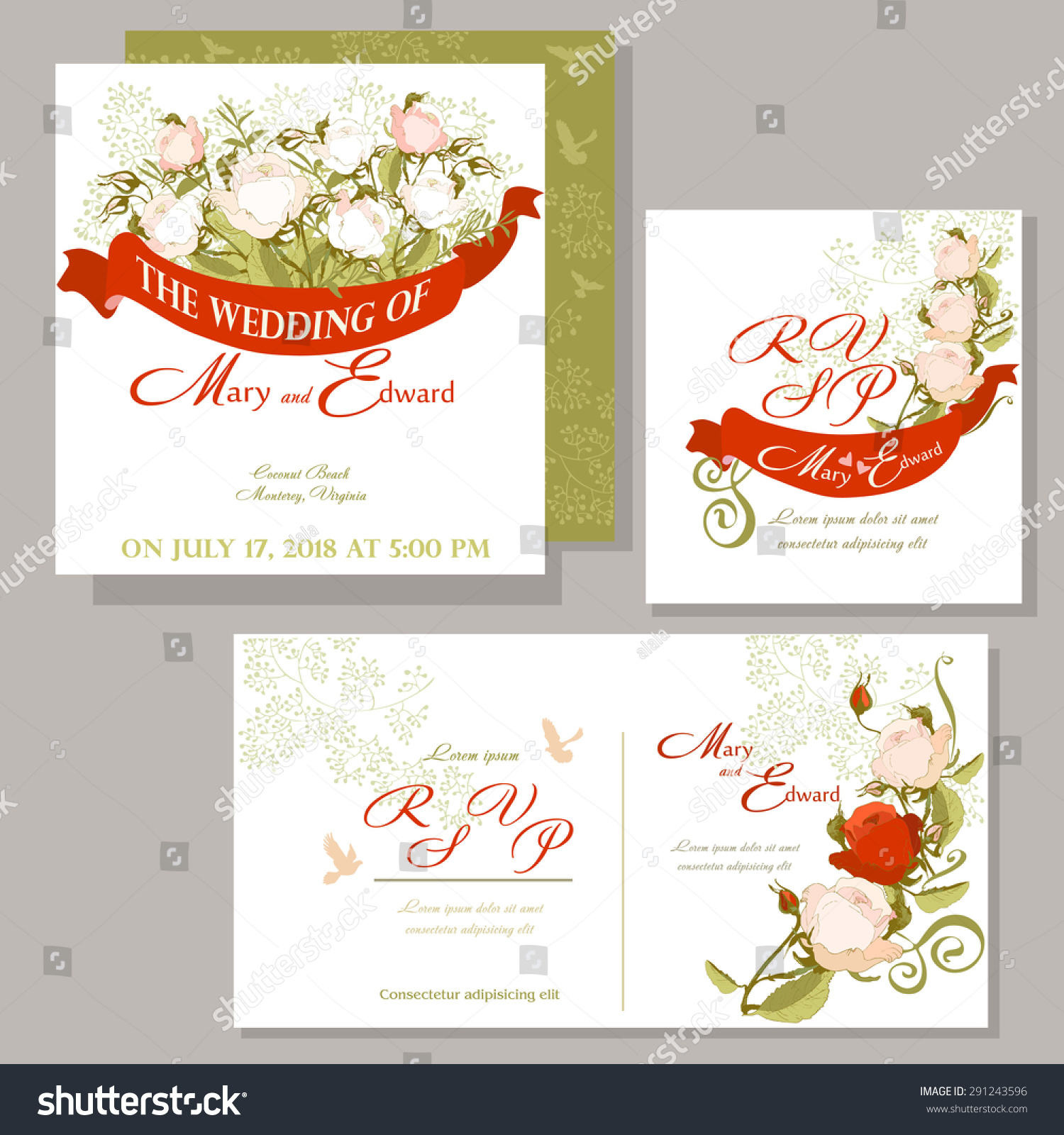 Wedding Invitation Red Ribbon White Roses Stock Vector 291243596 ...