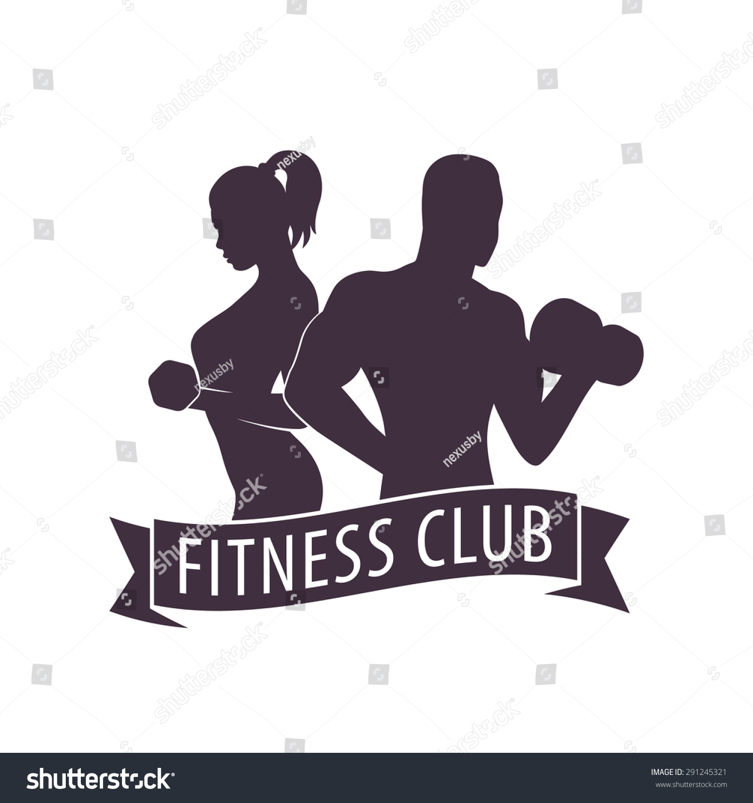 Fitness Club Logo Posing Athletic Girl Stock Vector