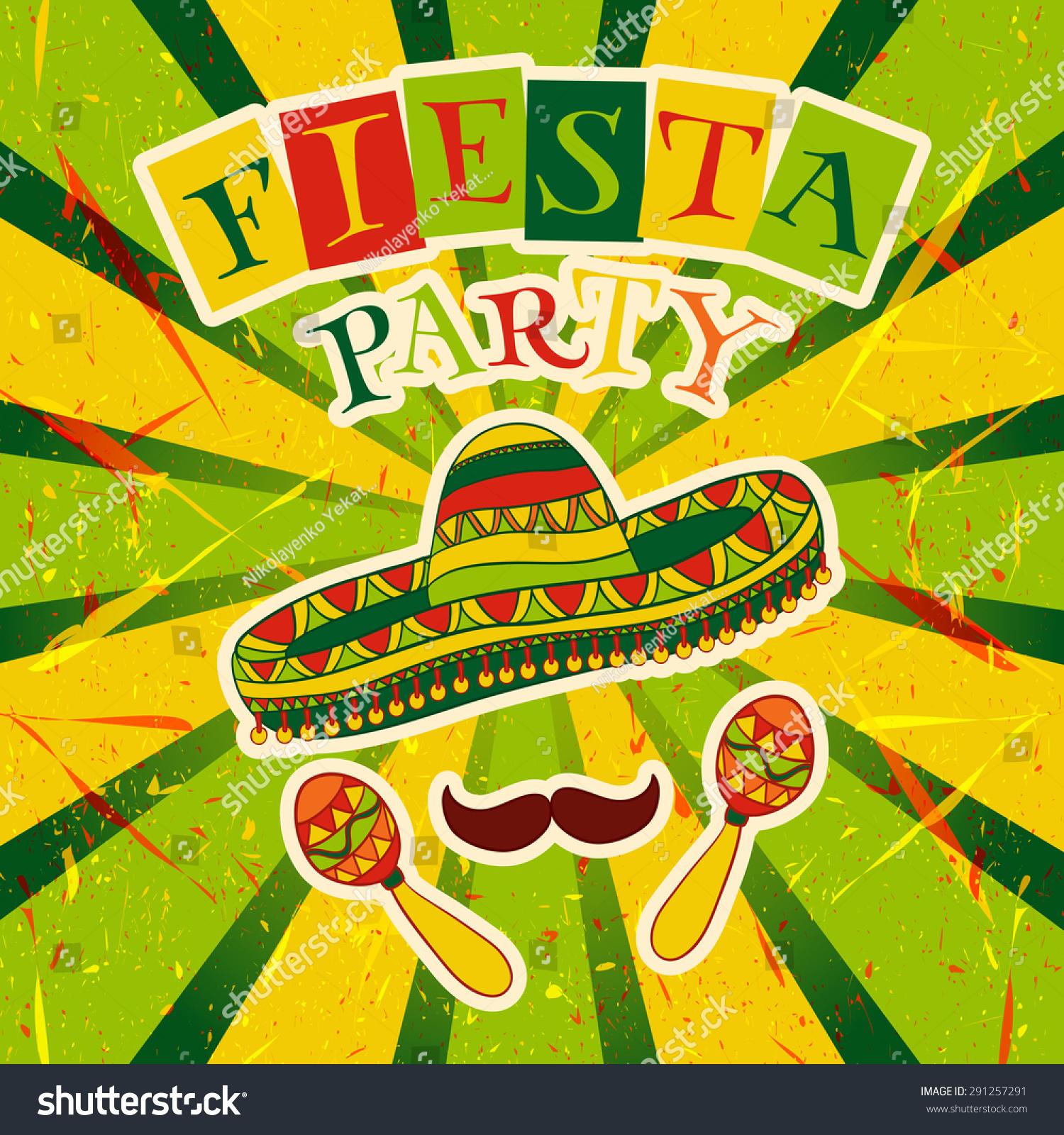 Mexican Fiesta Party Invitation Maracas Sombrero Vector – Mexican Themed Party Invitations