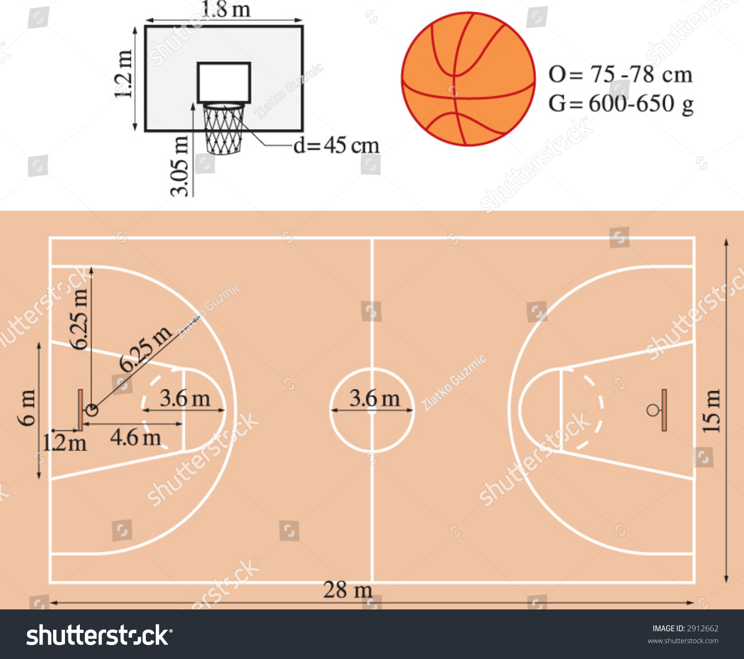 Dimensions of basketball playground stock vector illustration 2912662