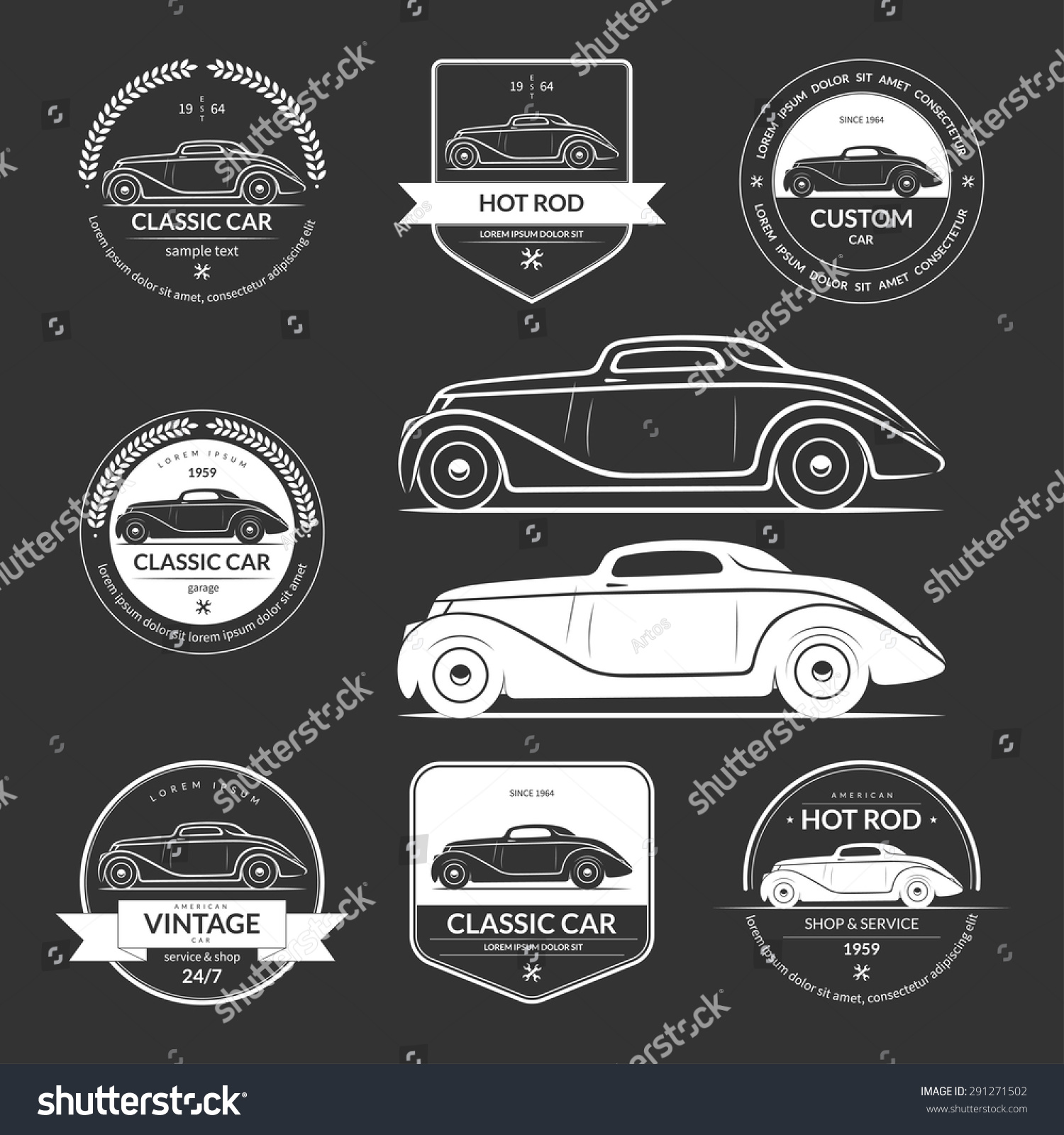 Design car emblem - Set Of Hot Rod Classic Vintage Car Service Labels Emblems Logos