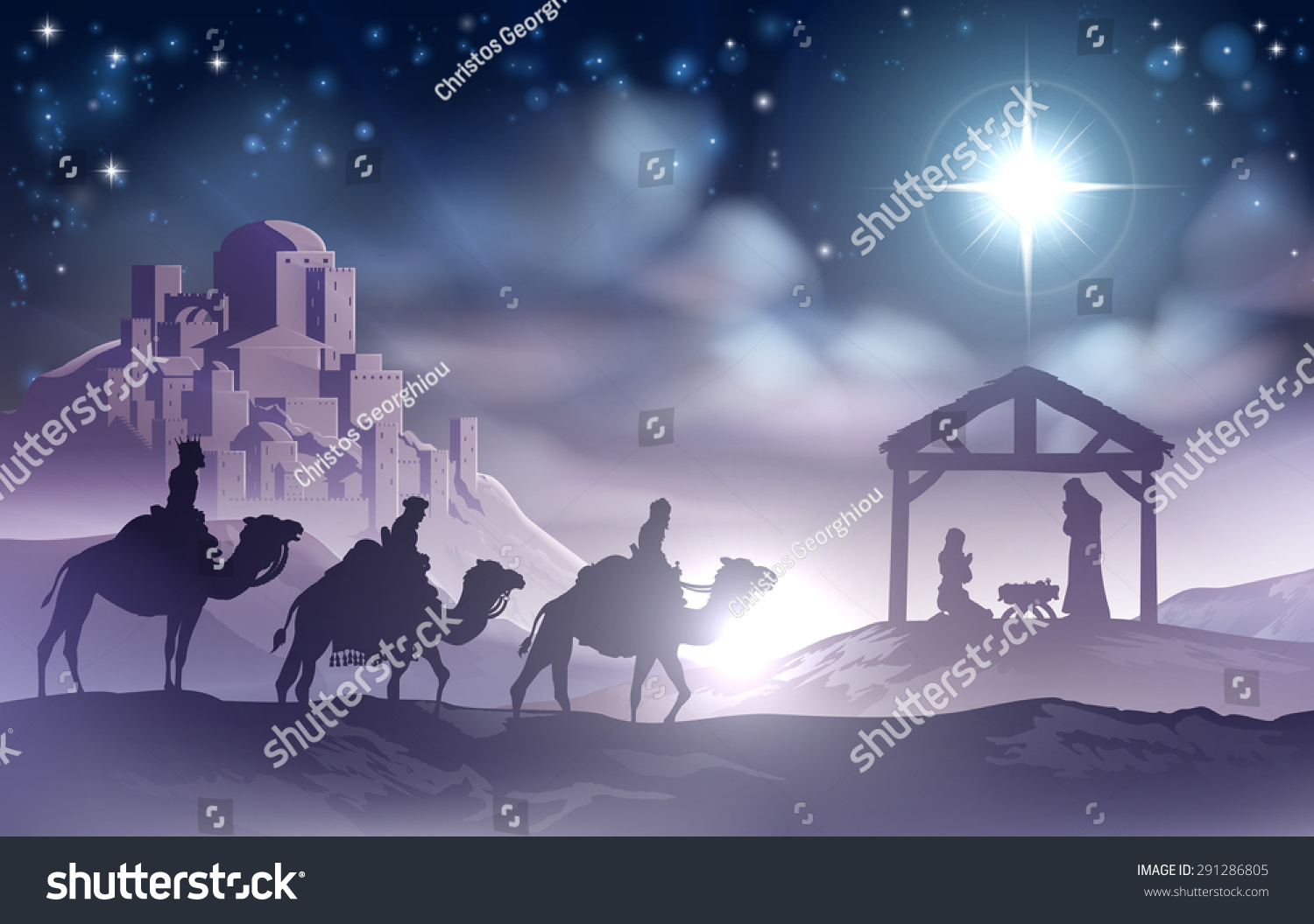Traditional Christian Christmas Nativity Scene Baby Stock Vector ...