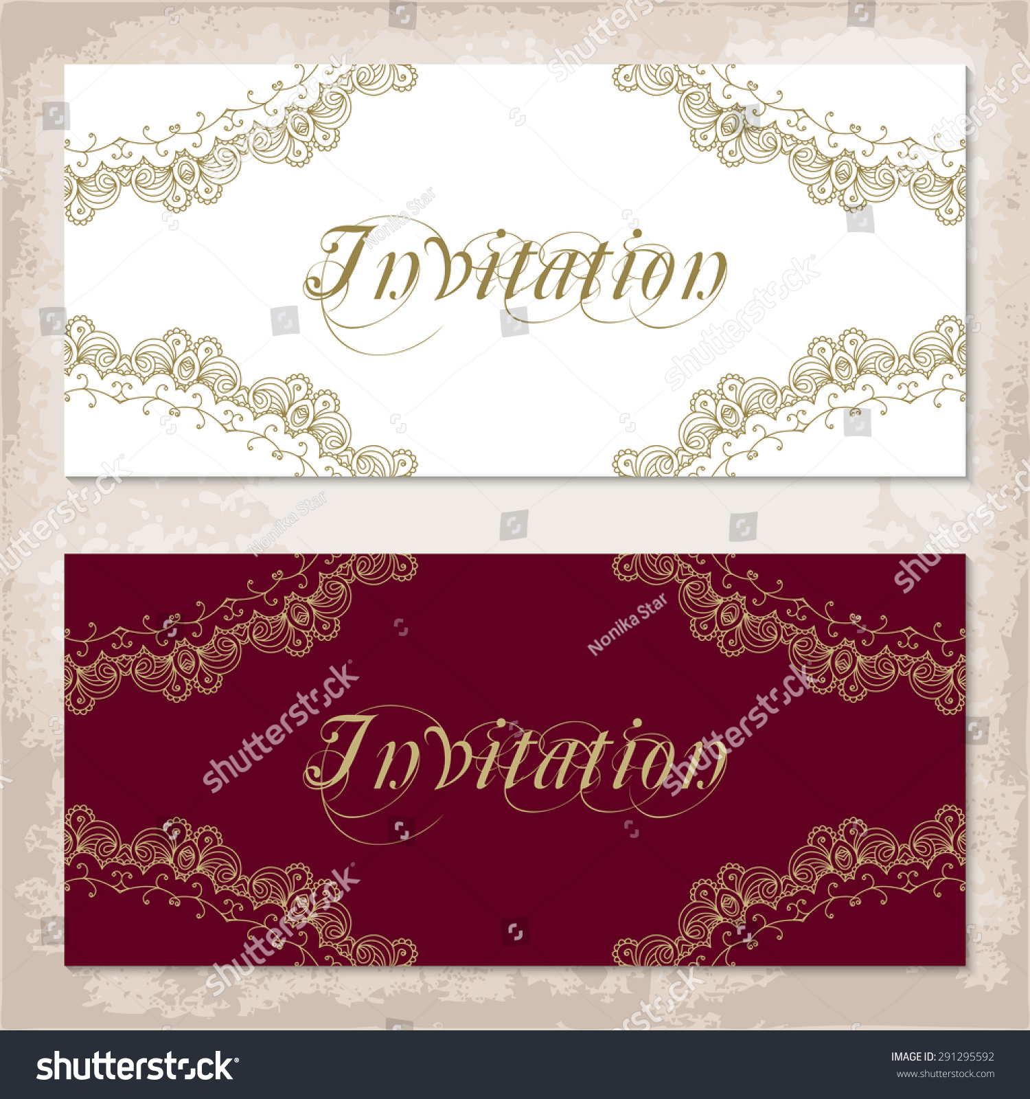 Vintage Invitation Template Gold Lace Corners Stock Vector 291295592 ...