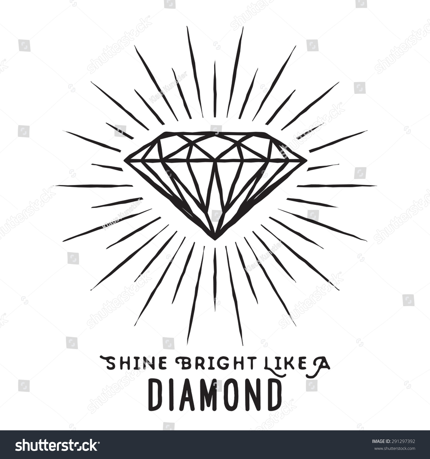 Hand Drawn Lettering Poster Shine Bright Stock Vector ...