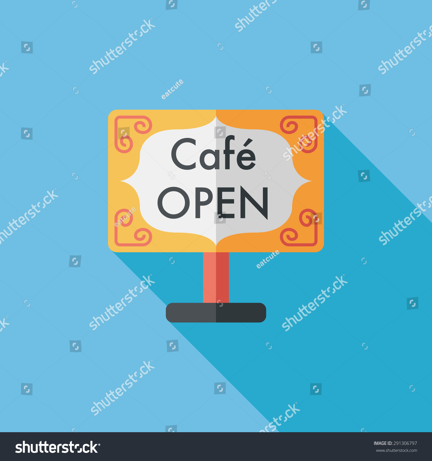 Coffee Shop Signs Flat Icon Long Stock Illustration