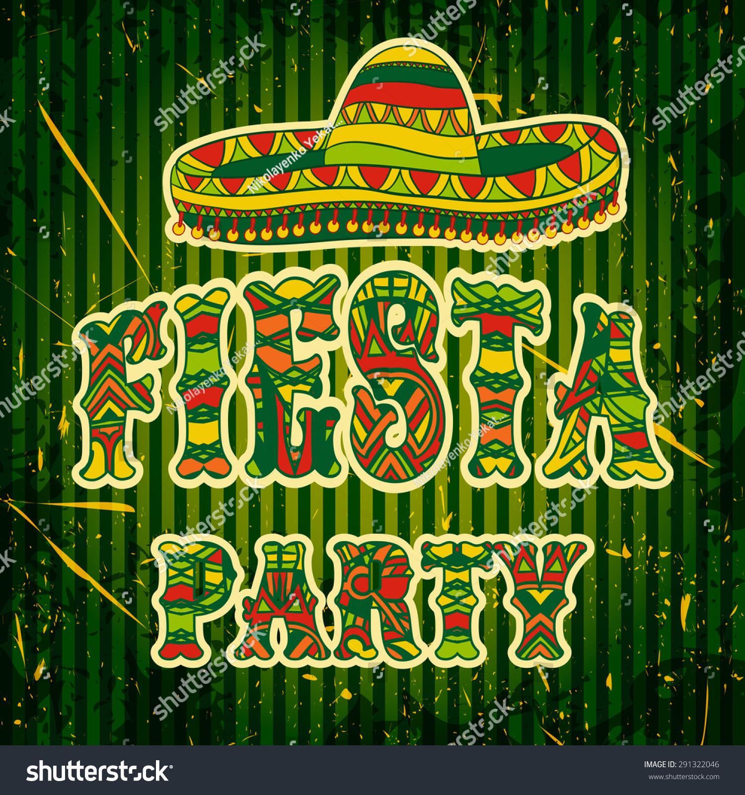 Mexican Fiesta Party Invitation Sombrero Colorful Vector – Mexican Themed Party Invitations