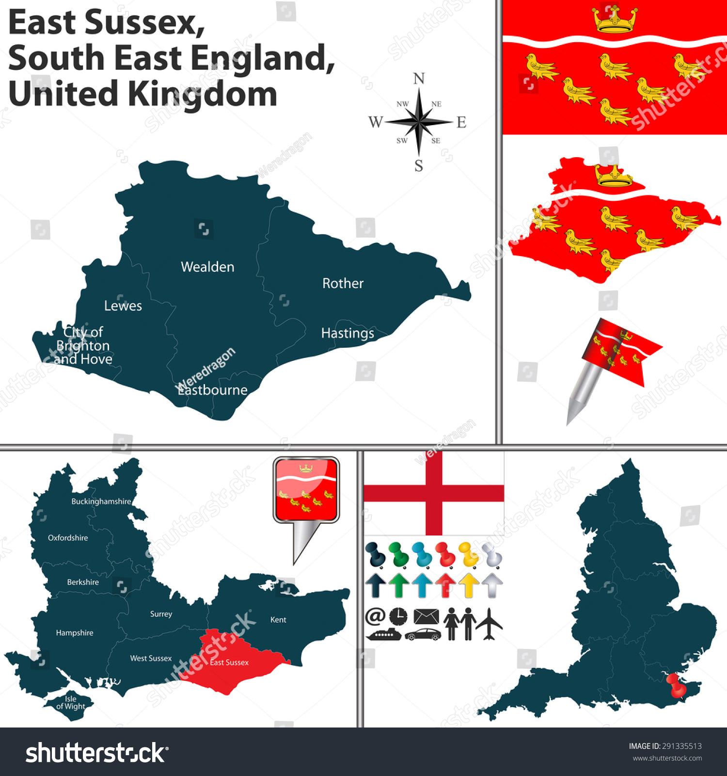 Vector Map East Sussex South East Stock Vector Royalty Free