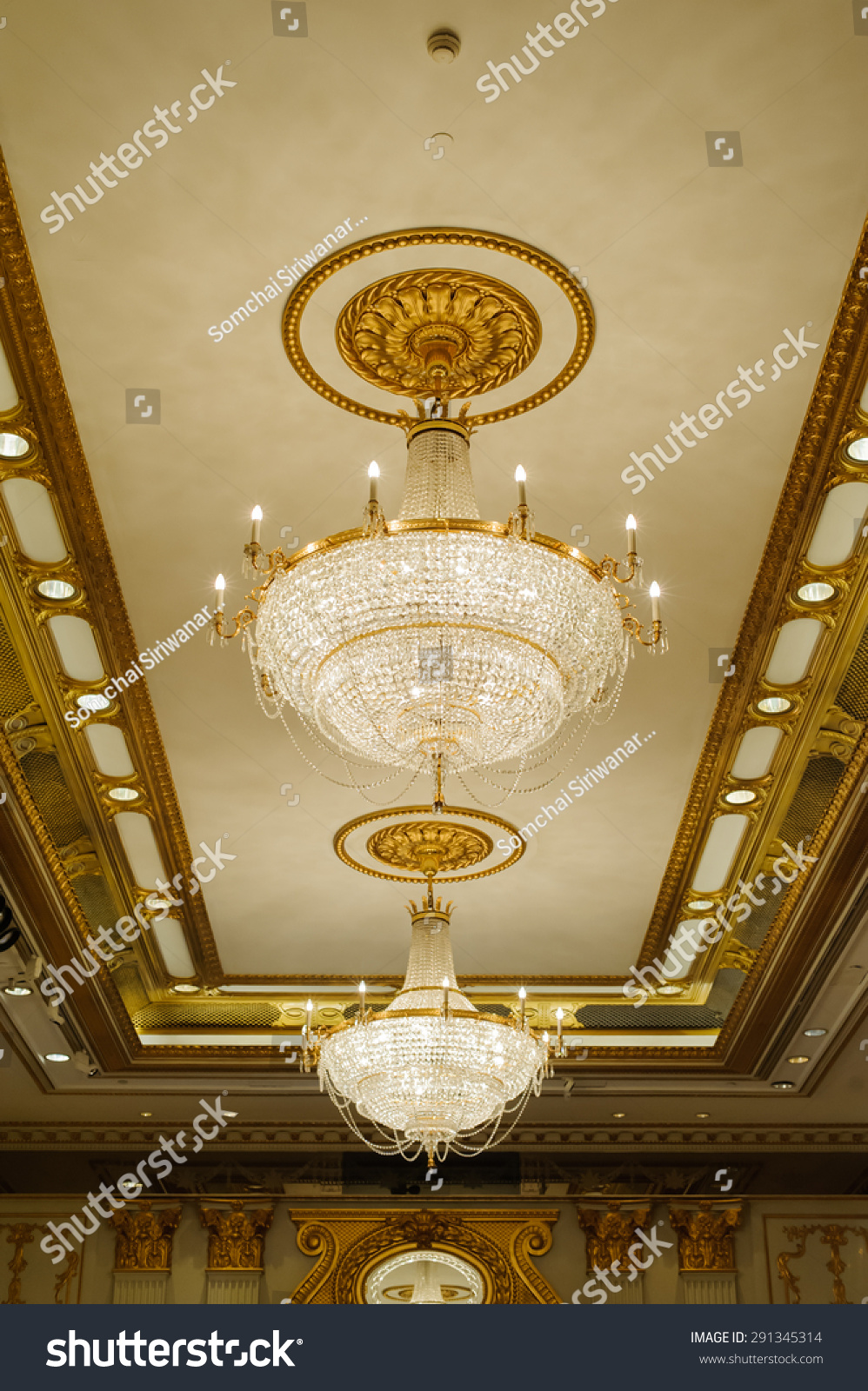 Elegant crystal chandelier stock photo 291345314 shutterstock elegant crystal chandelier arubaitofo Choice Image
