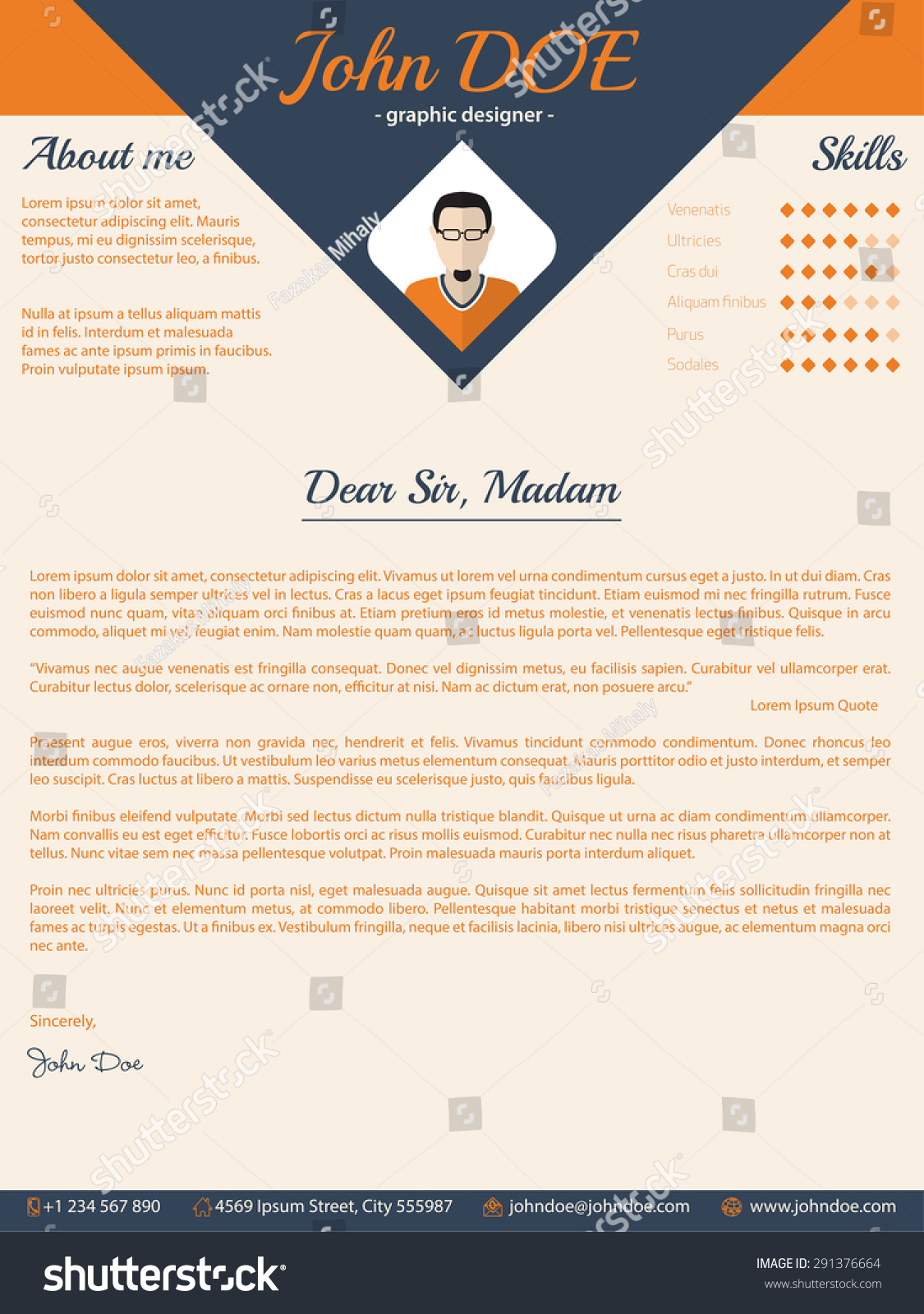 blue arrow cover letter cv resume template design