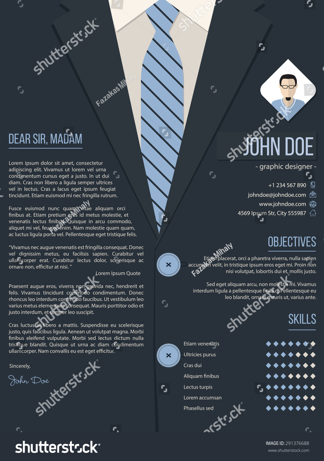 cool cover letter resume cv template design with business suit background - Cover Letter And Resume Template