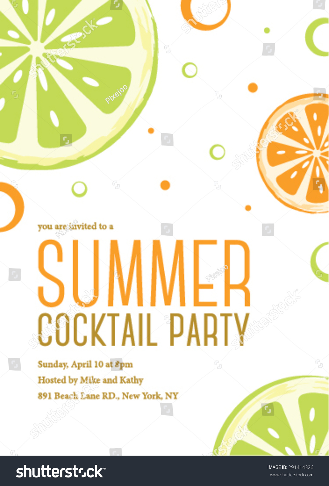 Summer Cocktail Party Invitation Template Vector 291414326 – Cocktail Party Invitation Template