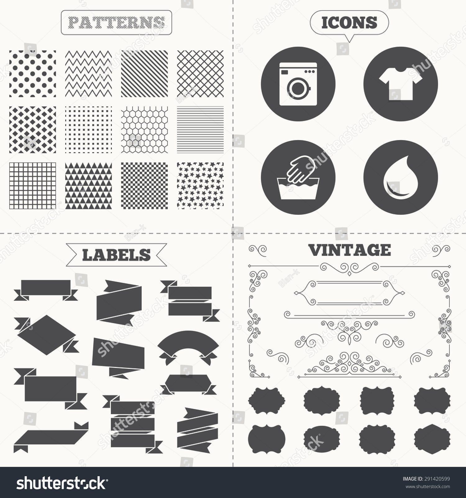 Seamless Patterns Sale Tags Labels Wash Stock Vector Royalty Free