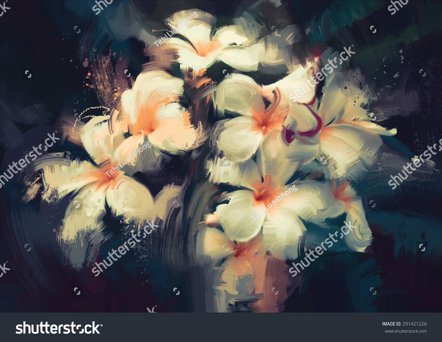 Painting Beautiful White Flowers Dark Background Stock Illustration