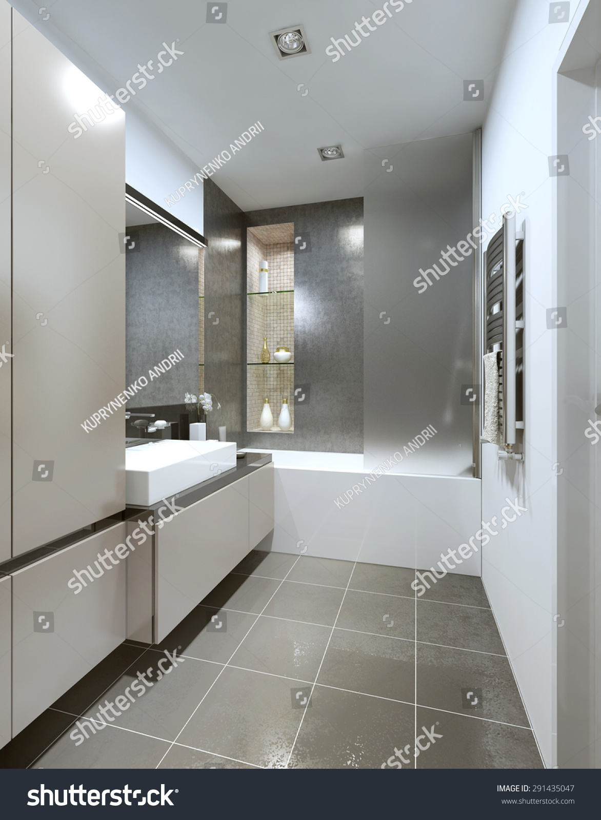 Designed Style Contemporary Bathrooms Gray Beige Stock