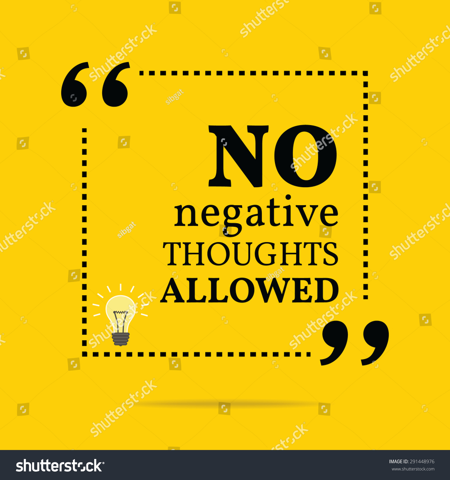Inspirational Motivational Quote. No Negative Thoughts Allowed. Vector  Simple Design. Black Text Over
