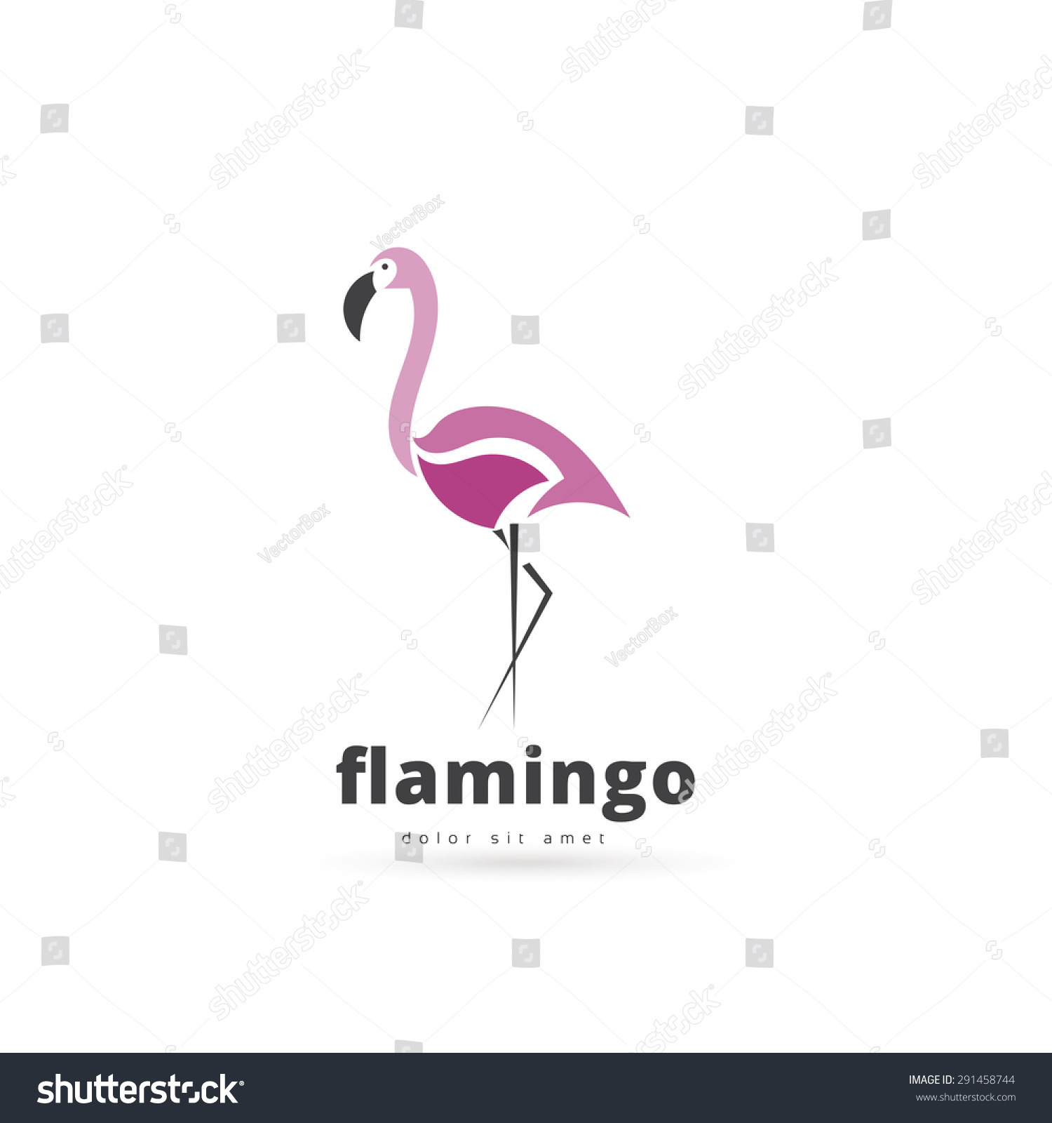 Artistic Stylized Flamingo Icon Silhouette Birds Stock ...