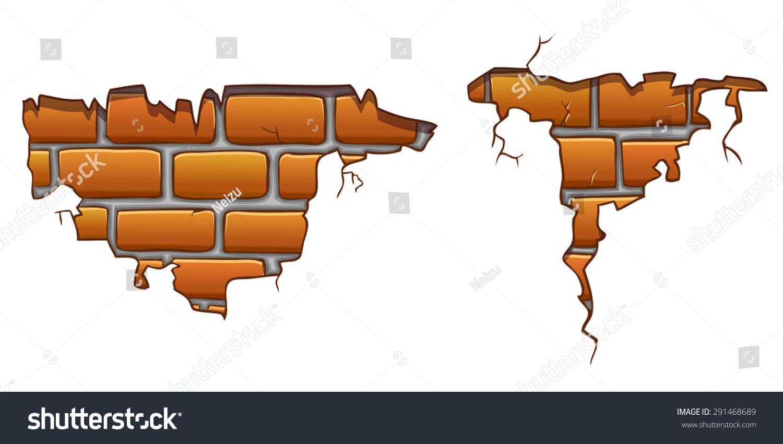 Brick wall texture free high resolution photo materials brick - Vector Cartoon Wall Crack With Orange Bricks 291468689