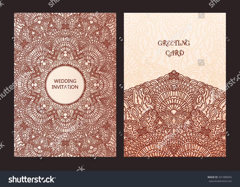 Set Ethnic Template Design Wedding Invitations Stock Vector 2018