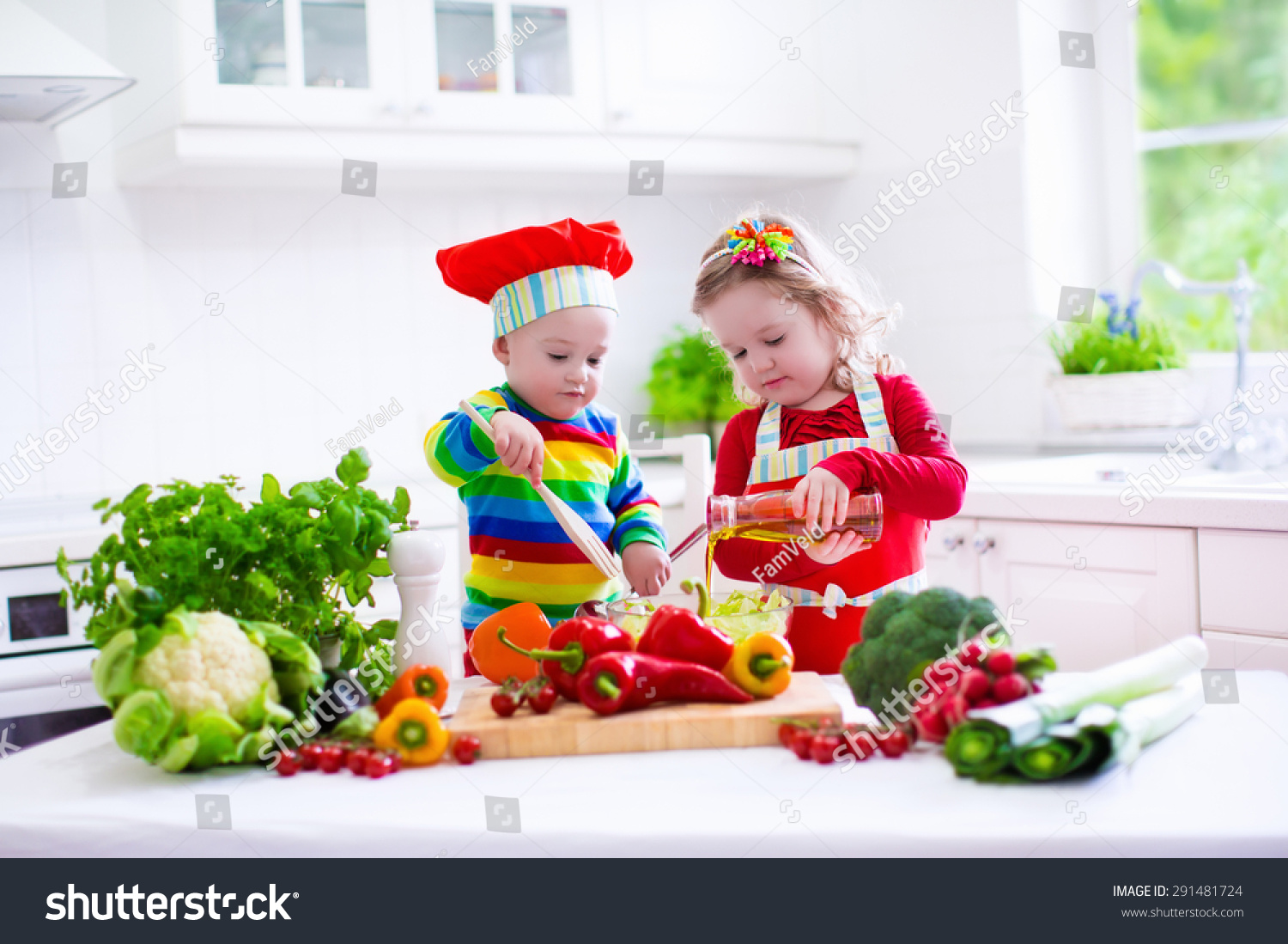 Kids Cooking Fresh Vegetable Salad White Stock Photo ...