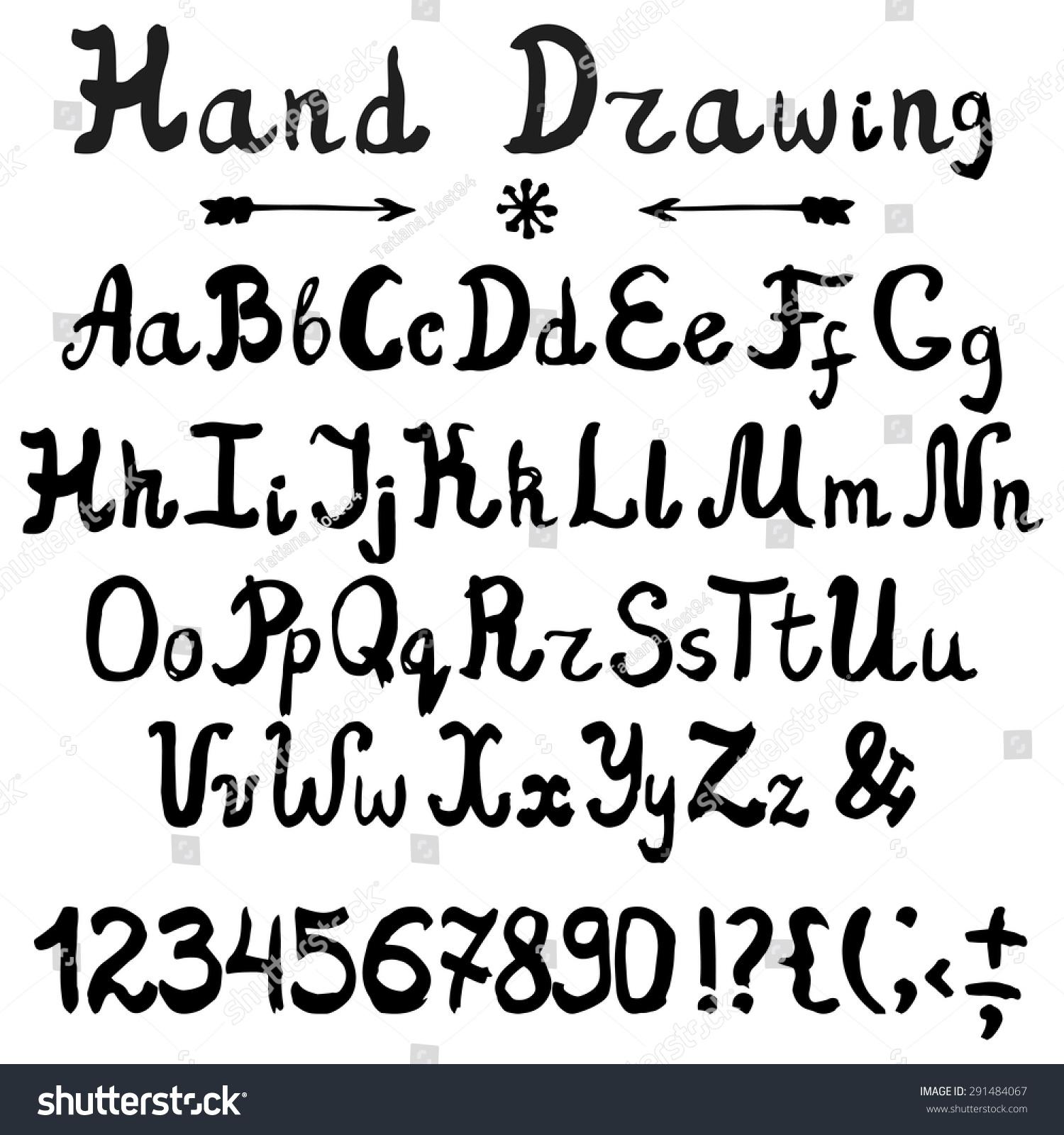 Vector Ink Alphabetfonthand Drawn