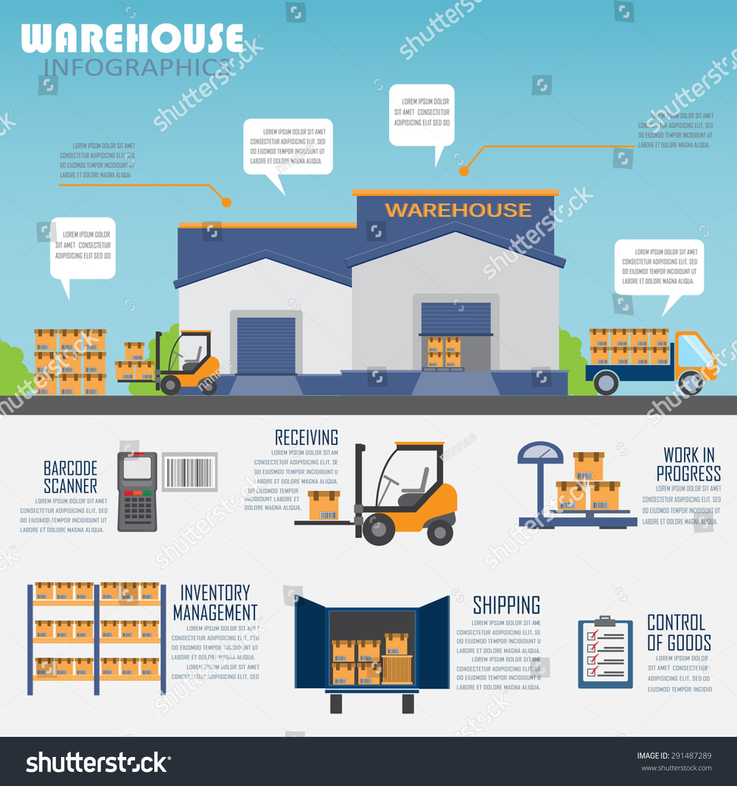 warehouse cargo logistic business management infographics stock