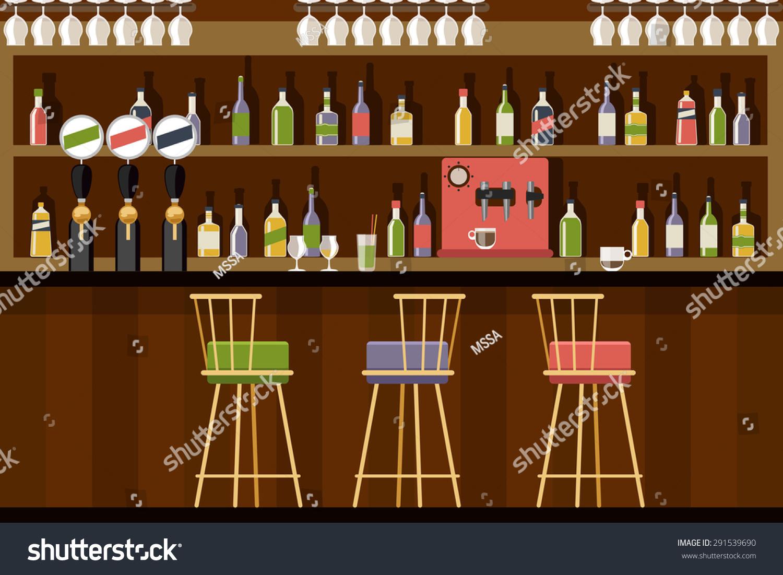Bar interior flat style design beverage stock vector
