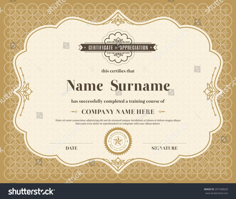 Vintage Retro Frame Certificate Background Design Stock ...