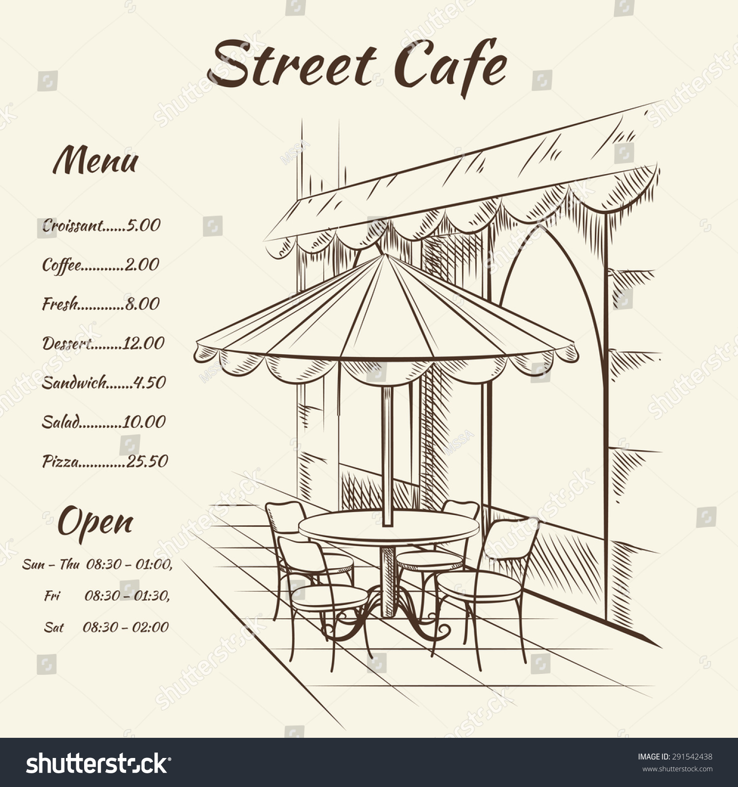 Hand Drawn Street Cafe Background. Menu Design, Sketch