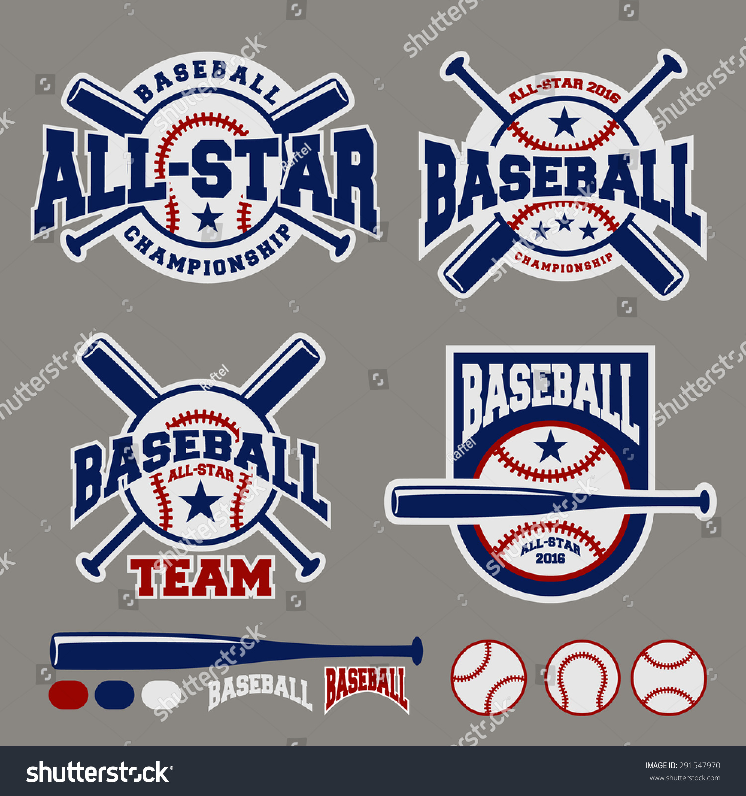 Set Baseball Sport Badge Logo Design Stock Vector 291547970 ...