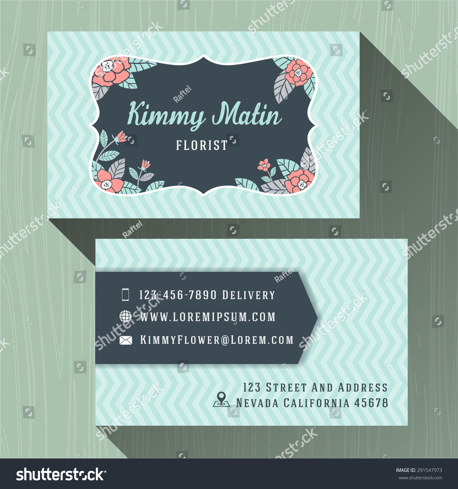 Flower Shop Business Name Cards Template Stock Vector 291547973 ...