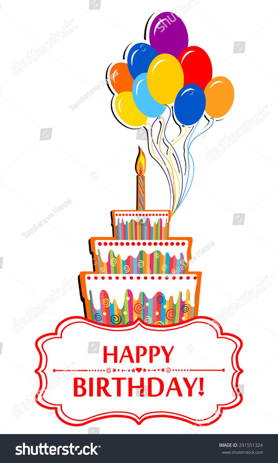 Happy Birthday Card Birthday Cake Colorful Stock Vector Royalty
