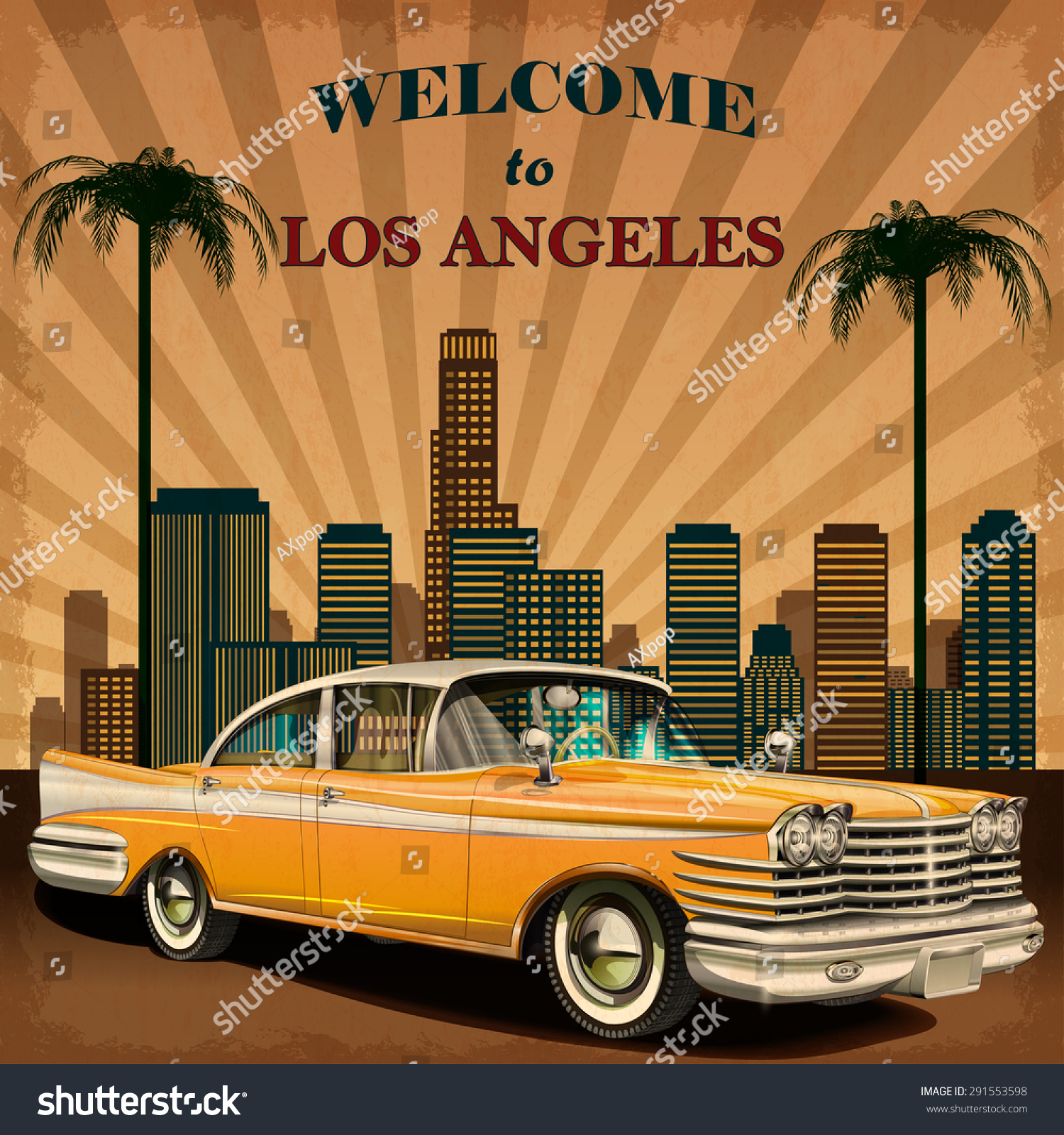 Poster design los angeles - Welcome To Los Angeles Retro Poster