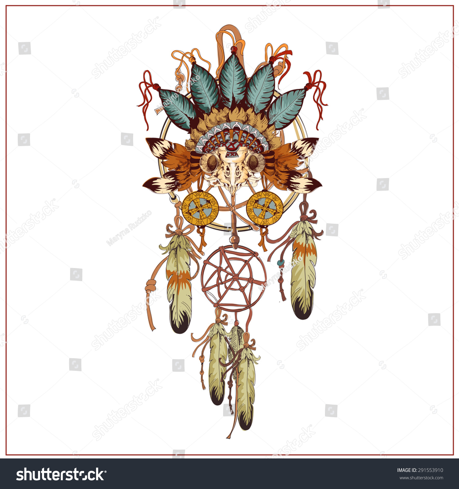 Vector decorative dream catcher in graphic style with owl for Dream catcher graphic