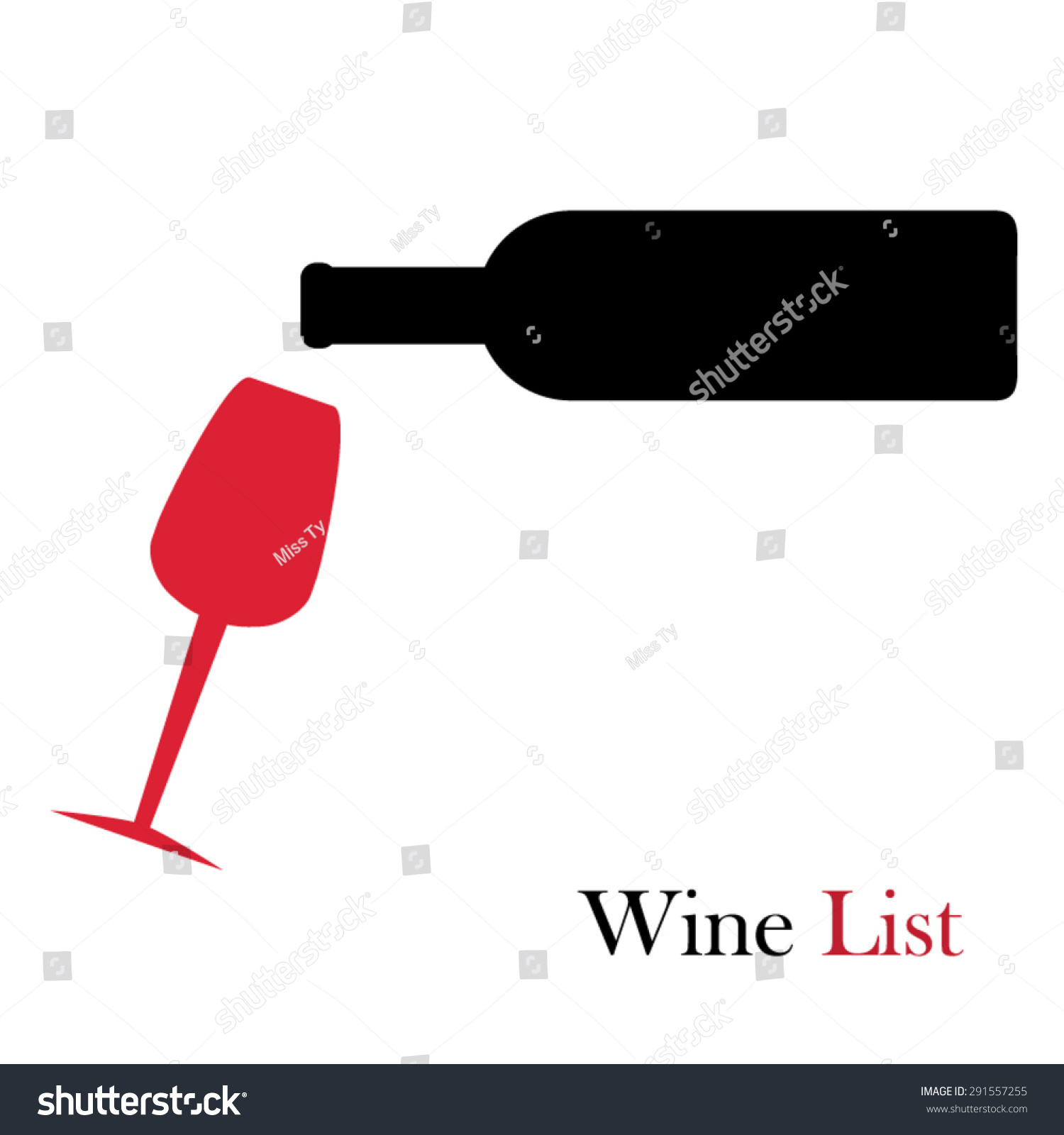 red wine pouring into wine glass stock vector 291557255