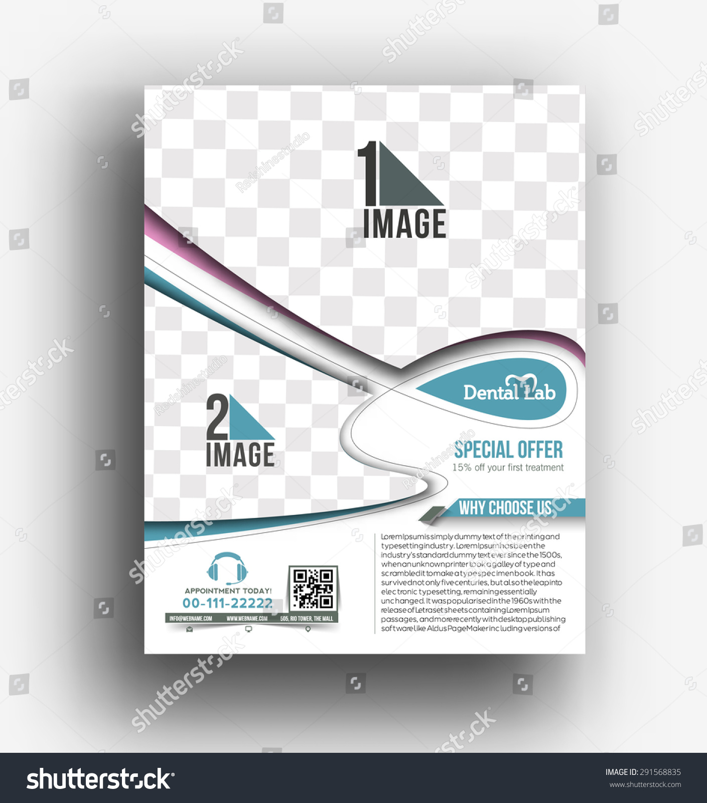 Dental lab front flyer poster template stock vector for Dental lab design layout
