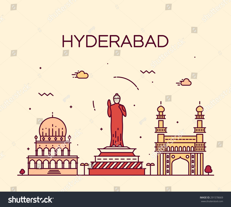 Hyderabad Skyline Detailed Silhouette Trendy Vector Stock