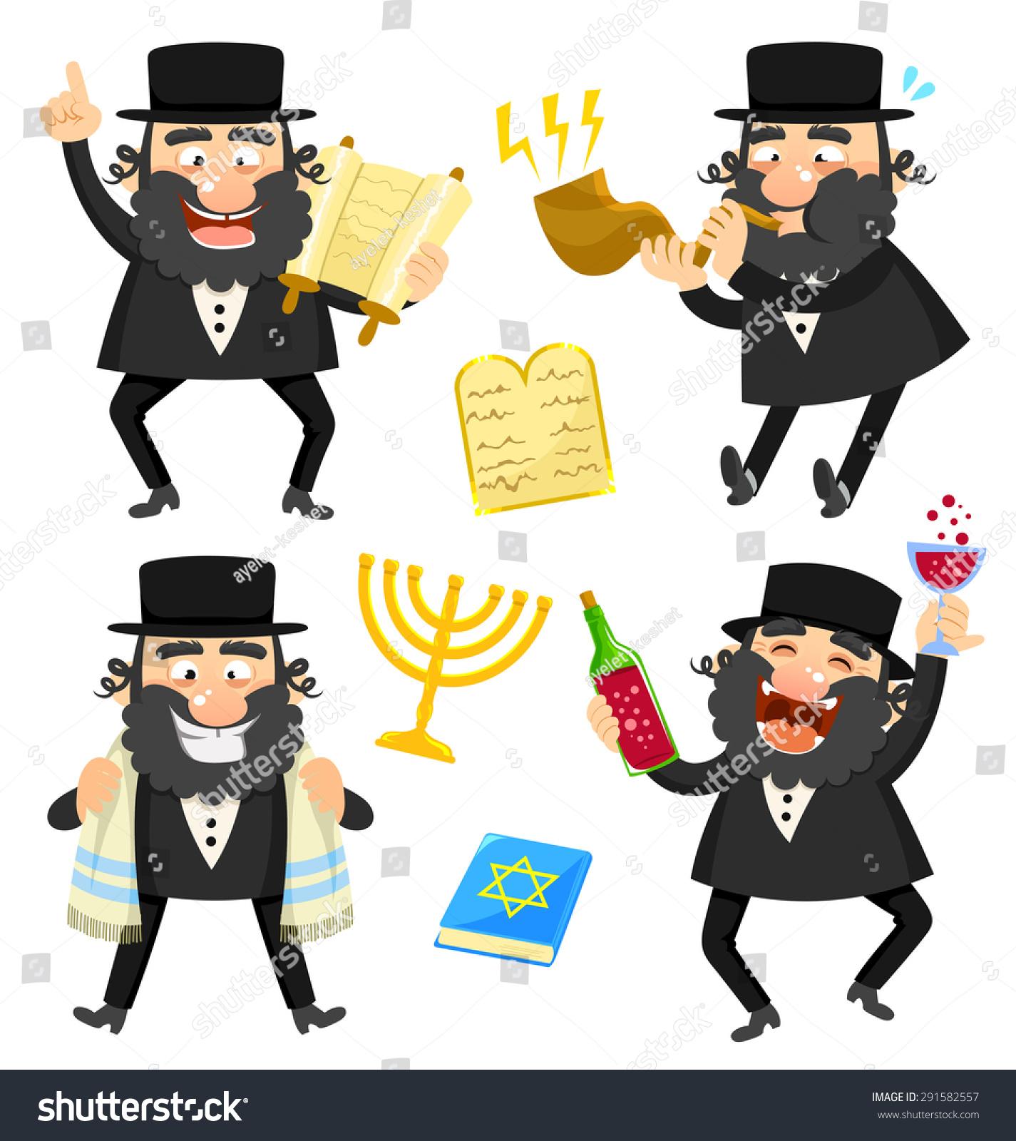 Royalty Free Stock Illustration Of Set Cartoon Rabbis Jewish Symbols