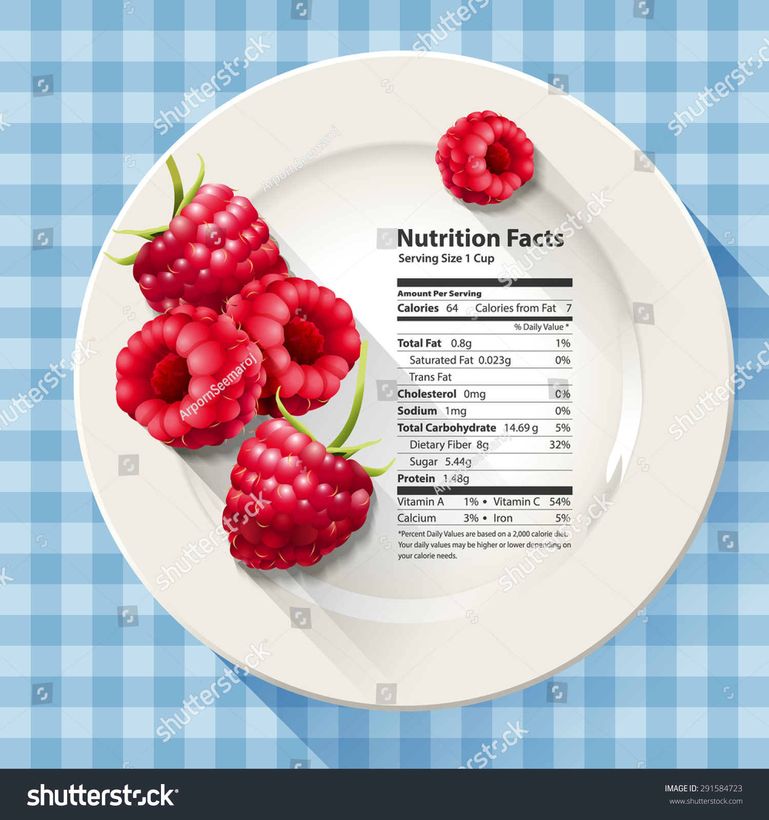 Vector Nutrition Facts Raspberries On White Stock Vector Royalty Free 291584723